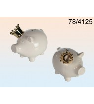 Moneybank Pig with crown, ceramic white