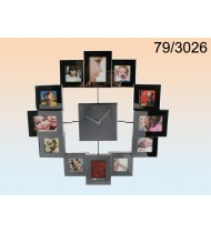 Stainless Steel Wall clock with 12 photo frames