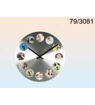 Photo frame Clock for 12 pictures alumiinium