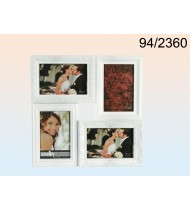 Black plastic picture frame for 4 photos, white