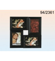 Black plastic picture frame for 4 photos, black