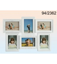 Black plastic picture frame for 6 photos, white