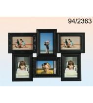 Black plastic picture frame for 6 photos, black