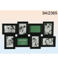 Black plastic picture frame for 8 photos, black