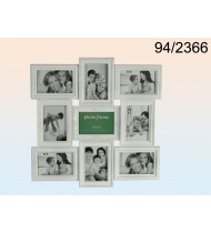 Black plastic picture frame for 9 photos, white