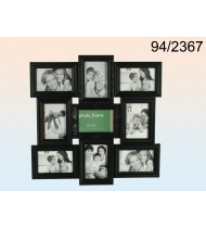 Black plastic picture frame for 9 photos, black