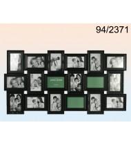 Black plastic picture frame for 18 photos, black
