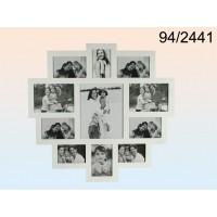 Pildiraam 11-le fotole, puidust, valge