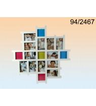Pildiraam 17-le fotole, puidust, valge