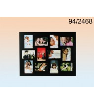 Black wooden picture frame for 12 picture