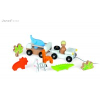 Puidust auto Jeep safari loomdega