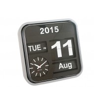 Wall clock Big Flip silver, black dial