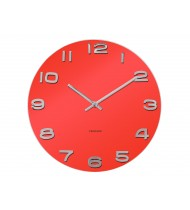 Wall clock Vintage red round glass