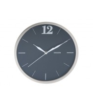 Wall clock Big 12 round steel polished black
