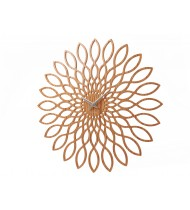 Wall clock Sunflower, wood finish