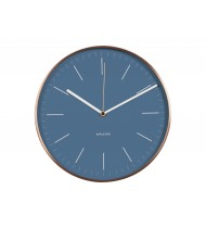 Wall clock Minimal jeans blue w. copper case
