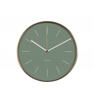 Wall clock Minimal jungle green w. copper case
