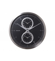 Wall clock Multiple Time aluminium black