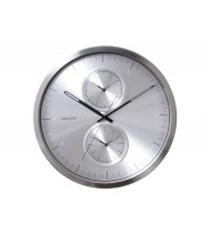 Wall clock Multiple Time aluminium brushed