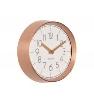 Wall clock Convex white, copper case
