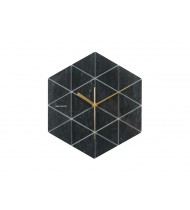 Wall clock Marble Hexagon black