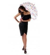 Läbipaistev vihmavari värviliste täppidega