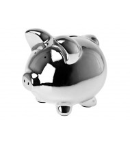 Moneybank Pig ceramic,  chrome