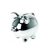 Money bank Pig, Medium ceramic chrome